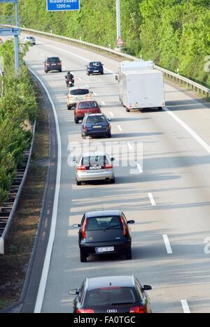 German Freeway with cars Eifel Rhineland-Palatinate Germany Europe - Stock Photo