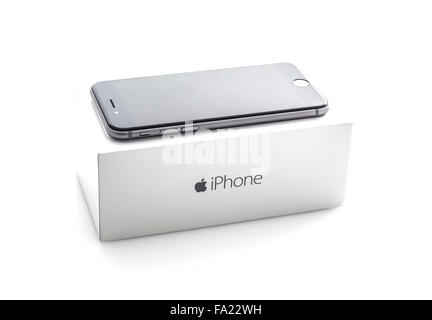 Apple iPhone 6 in Space Gray with box on a white background the iPhone 6 is the new addition to the iPhone family - Stock Photo