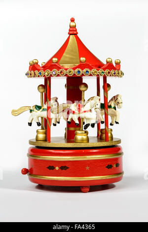 Old carillon with Horses in wood for Christmas decoration. - Stock Photo
