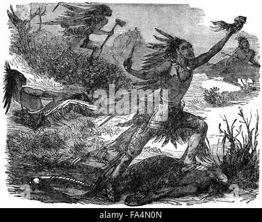 """Indians Scalping Their Victims"", Book Illustration from ""Indian Horrors or Massacres of the Red Men"", by Henry - Stock Photo"