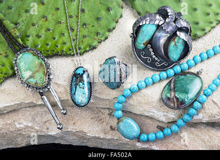 Old Native American Navajo indian turquoise jewelry. - Stock Photo