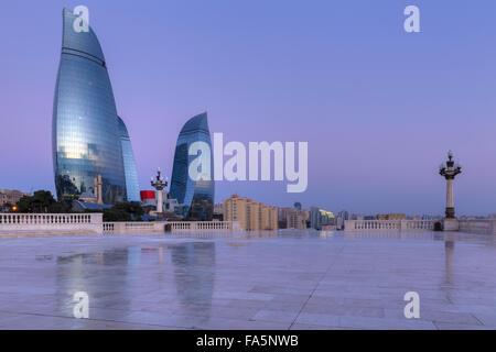 Flame Towers in Baku at sunrise.Azerbaijan - Stock Photo