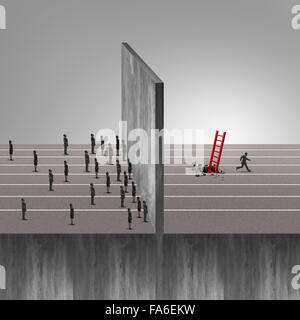 Clever man business success idea as a group of people stuck in front of a wall obstacle and one individual businessman - Stock Photo