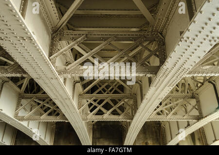 Underside of an old road bridge constructed of girders - Stock Photo