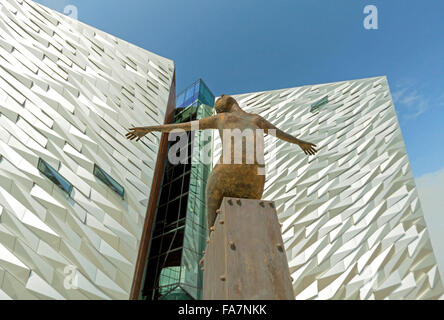Titanica Sculpture, depicting a diving female, created by Rowan Gillespie in front of Titanic Belfast, Northern - Stock Photo