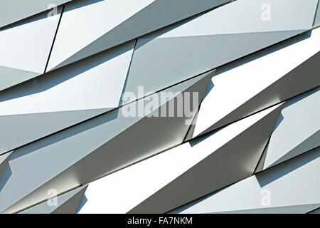 Close-up of the silver anodized aluminum shards of Titanic Belfast's exterior, a landmark in Belfast, Northern Ireland, - Stock Photo