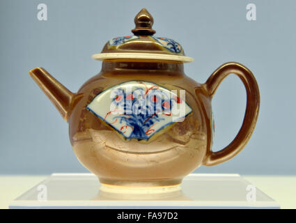 Ewer with Brown Glaze and Floral Sprays in panels. The Palace Museum. - Stock Photo