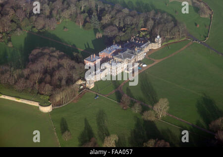 aerial view of Wentworth Woodhouse country house, Near Rotherham, Yorkshire, UK - Stock Photo