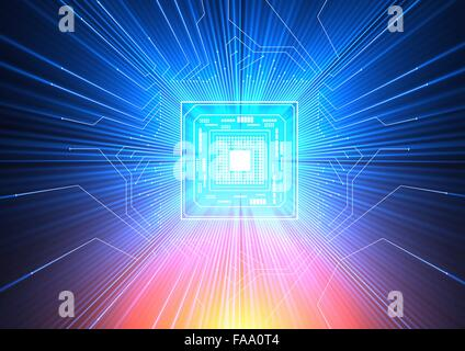 Quantum computer. Conceptual computer artwork of electronic circuitry with blue and red light passing through it, - Stock Photo