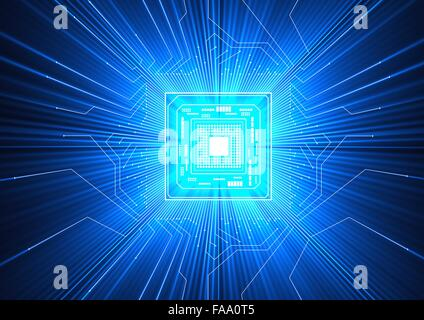 Quantum computer. Conceptual computer artwork of electronic circuitry with blue light passing through it, representing - Stock Photo
