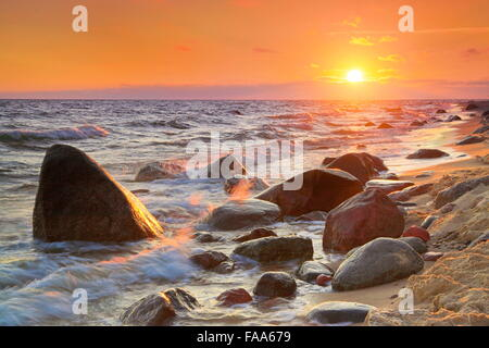 Sunset at Baltic Sea, Pomerania, Poland - Stock Photo