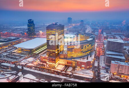 Warsaw' aerial view of city center, Warsaw, Poland - Stock Photo