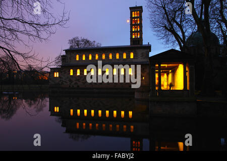 Evening view of the Protestant Church of Peace (Friedenskirche) in Sanssouci Park, Potsdam, Germany - Stock Photo