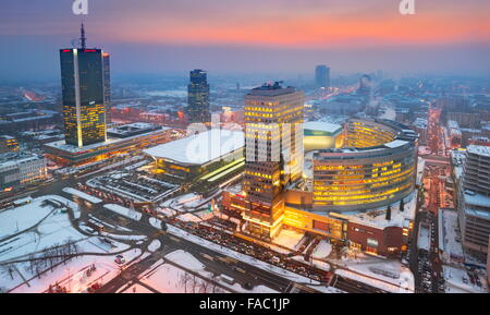 Warsaw modern skyline, Poland - Stock Photo