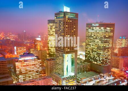 Warsaw modern district skyline, Poland - Stock Photo