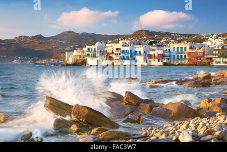 Mykonos Old Town, Little Venice in the background, Mykonos Island, Greece - Stock Photo
