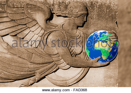 Photo illustration of the earth being protected by an angel. - Stock Photo