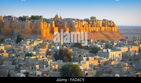 Panoramic view skyline of Jaisalmer Fort, Jaisalmer, Rajasthan, India - Stock Photo