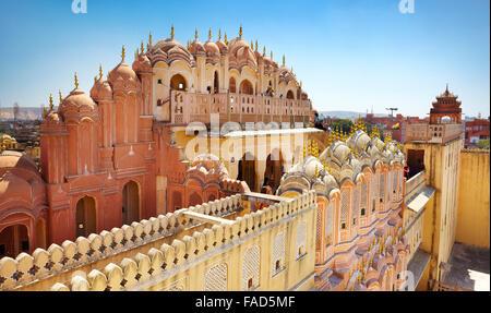 Rear view of the Hawa Mahal, Palace of the Winds, Jaipur, Rajasthan, India - Stock Photo
