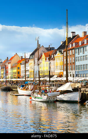 The boat in Nyhavn Canal, Copenhagen, Denmark - Stock Photo