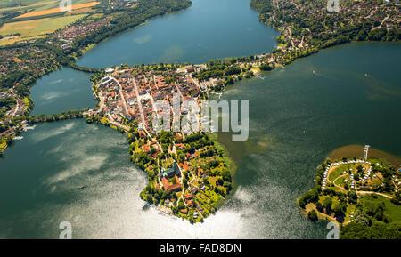 Aerial view, Peninsula, Lake Ratzeburg, Domsee, Küchensee, Ratzeburg, Lübeck Bay, Hansestadt, Schleswig-Holstein, - Stock Photo