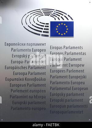 European Parliament in Brussels Belgium - Stock Photo