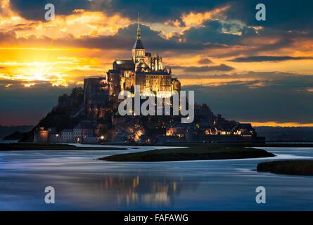 Le Mont-Saint-Michel at sunset, Normandie, Bretagne, France, Europe - Stock Photo