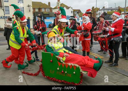 St Michael's Hospice. Santa Fun Run and Wacky Sleigh Race. Hastings 2015 - Stock Photo