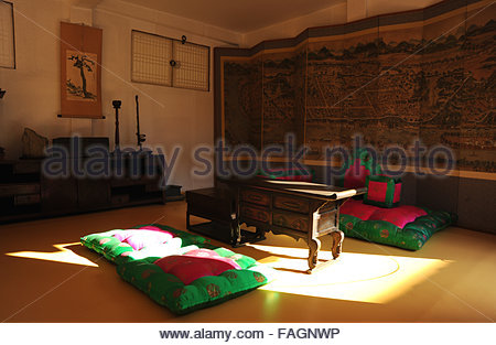 Inside of the Namsangol Traditional Korean Village - Stock Photo