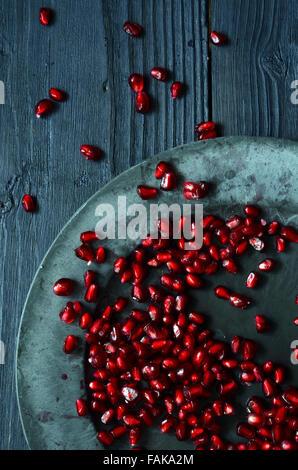 Close up of fresh organic pomegranate seeds - Stock Photo