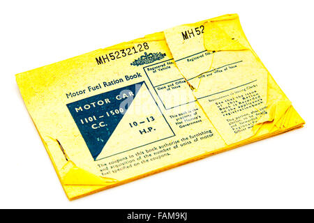 motor fuel ration book rationing shortages petrol British UK GB shortage 1960s 1960's Cutout cut out white background - Stock Photo