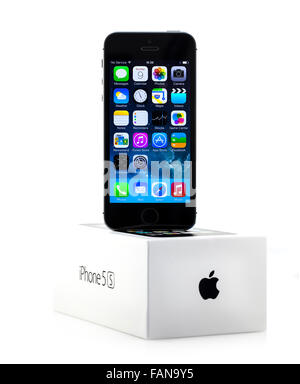 New Apple iPhone 5S in a box over a White Background - Stock Photo