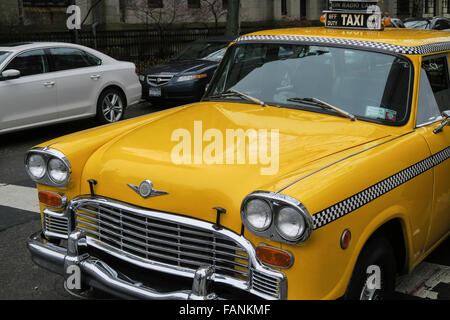 Vintage New York City Checker Taxi Cab - Stock Photo