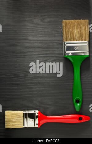 paint brush on wooden background - Stock Photo