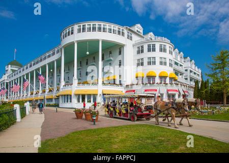 Historic Grand Hotel on resort island of Mackinac Island Michigan built in 1886-87 - Stock Photo