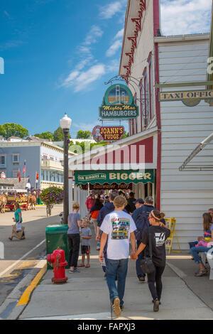 Main Street on the resort island of Mackinac Island in Michigan - Stock Photo