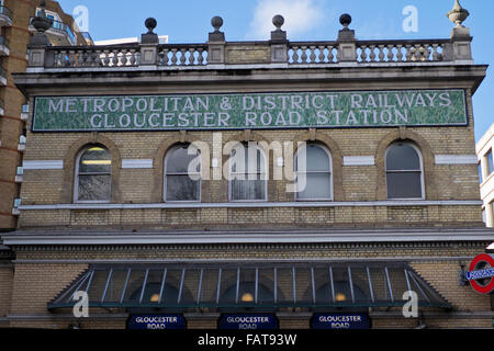 Gloucester Road Tube station in London - Stock Photo