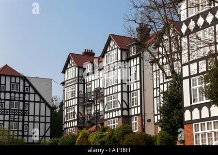 Mock Tudor Houses in Highgate, London, UK (Holly Lodge Estate) - Stock Photo