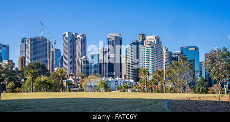 Australia, New South Wales, Sydney, Millers Point, view of the the city north skyline from Barangaroo Reserve - Stock Photo