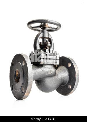 Old gas cast iron valve shot on white - Stock Photo