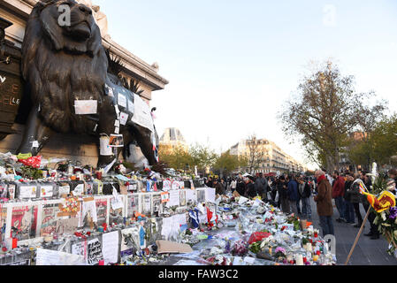 November 18th, 2015 - Paris  Place de la Republique after the Paris terror attack.  Paris terror attack leaves up - Stock Photo