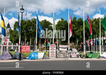 Campaigners against the Iraq war camped in Parliament Square, London - Stock Photo