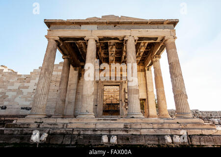The Erechtheion, an ancient Greek temple on the North side of the Acropolis; Athens, Greece - Stock Photo