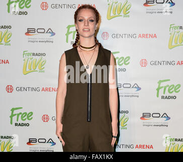 Free Radio Live 2015 at Genting Arena - Arrivals  Featuring: Jess Glynne Where: Birmingham, United Kingdom When: - Stock Photo