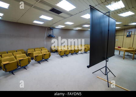 conference room in bunker of Josip Tito, leader of former Yugoslavia, near Konjic in Bosnia and Herzegovina, completed - Stock Photo