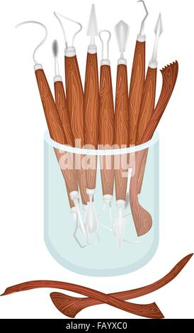 An Illustration Collection of Sculpting Tools in A Glass Jar, Used To Cut and Sculpt The Clay for Create A Sculpture. - Stock Photo