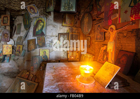 Altar in the cave, Rhodes Island, Greece, Dodecanese - Stock Photo