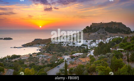 Sunrise time at Lindos and the Acropolis, Rhodes, Greek Dodecanese Island - Stock Photo
