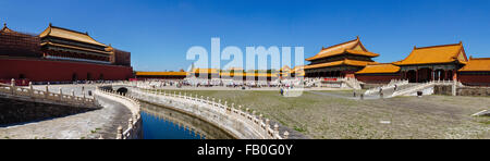 Beijing, China - Panorama view at Forbidden City in the daytime. - Stock Photo