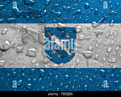 flag of Rybnik with rain drops - Stock Photo